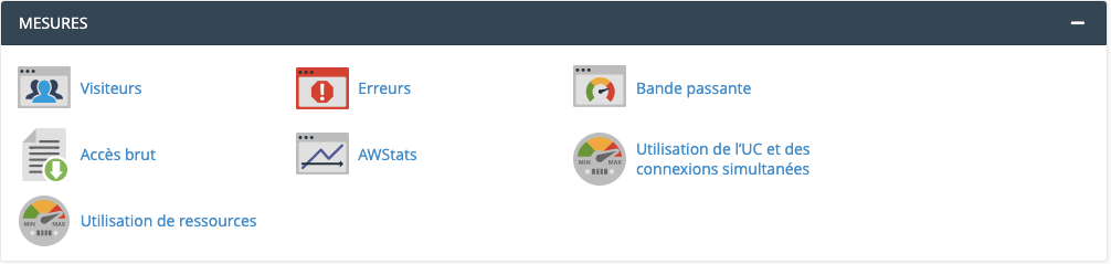 o2switch cpanel section mesures